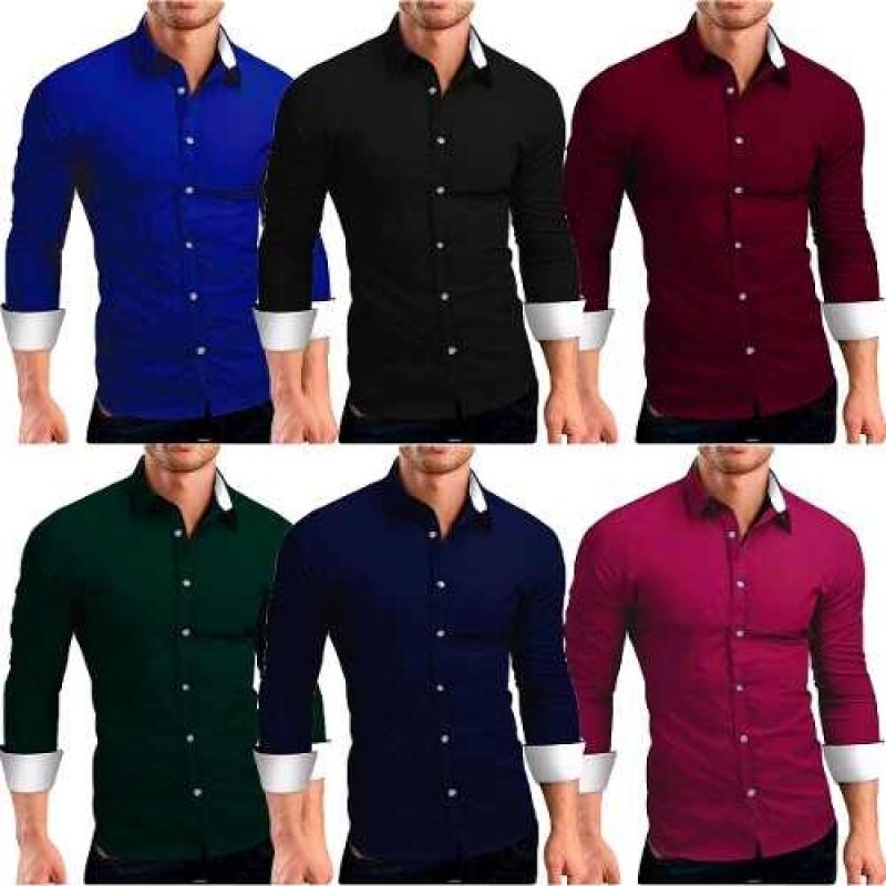 ae0e413bf Kit 3 Camisas Camiseta Social Masculina Slim Tricoline Lycra