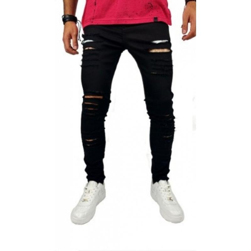 Calça Jeans Masculina Skinny Destroyed Rasgada Mod37
