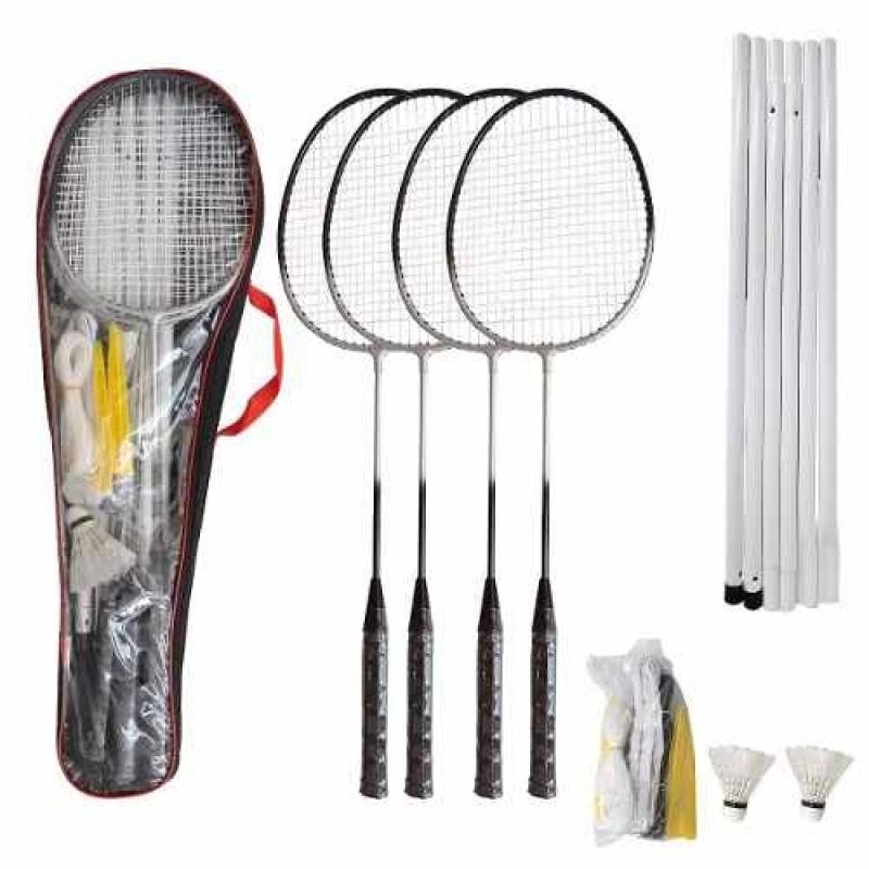 Kit Badminton  4 Raquetes 2 Petecas Com Rede
