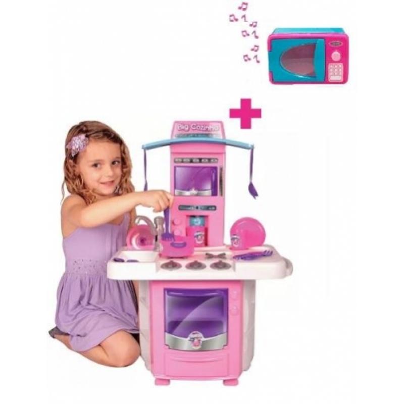 Mini Cozinha Infantil Big Star Sai Água + Microondas Som Luz
