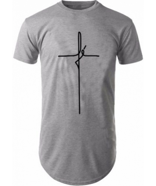 fb6689f32 Camisa Long Line Camiseta Oversized Masculina Carta Fé Moda