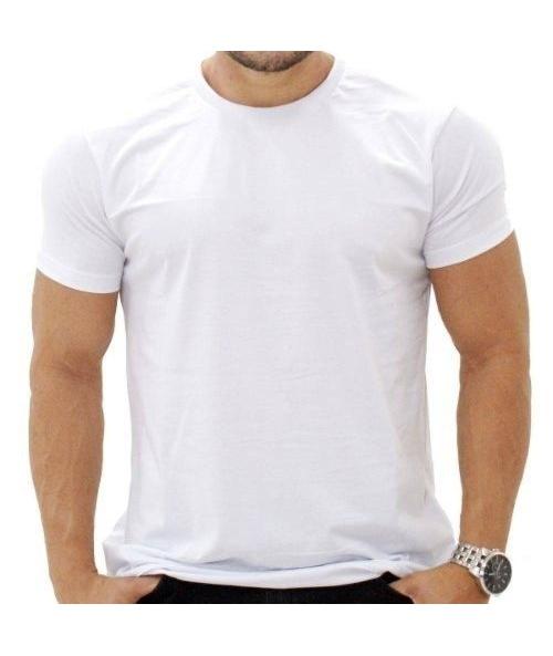 8d1ca8277 Camiseta Masculina Branca Uniforme Gola Redonda Algodão