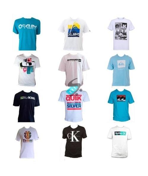 967b1ba36b Kit 10 Camisa Camiseta Masculina Estampada De Marca Atacado