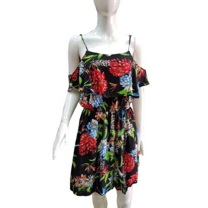 >Vestido Curto Viscose Ciganinha Estampada Floral De Alcinha