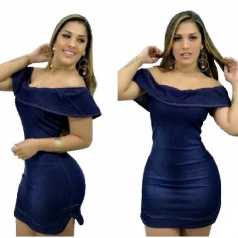 114053854 Vestido Jeans Curto Babado Lycra Moda Blogueiras
