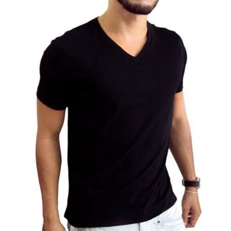 >Camiseta Preta Masculina Gola V Algodão