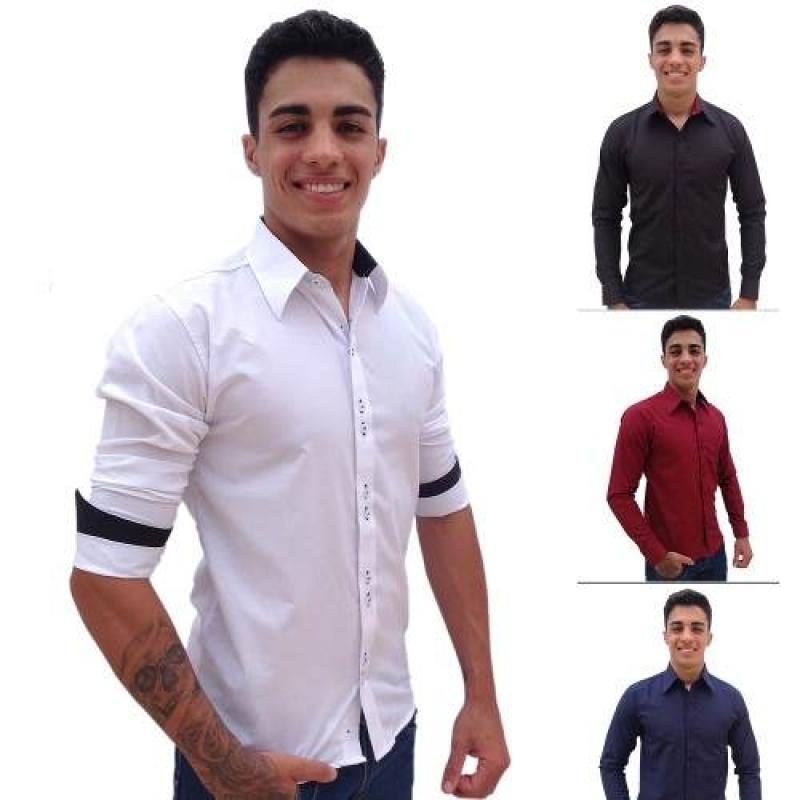 >Kit 3 Camisas Social Slim Fit Masculina Atacado Barata4