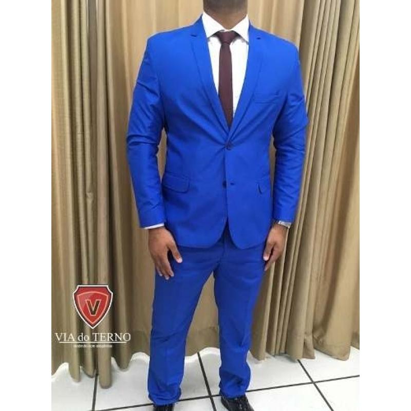 >Terno Slim Masculino Oxford Azul Royal Paletó + Calça